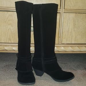 Genuine suede leather knee high boots